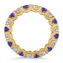 Diamond & Tanzanite Eternity Wedding Band 14k Yellow Gold (2.10ct)