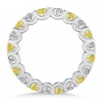 Yellow & White Diamond Eternity Wedding Band 14k White Gold (2.10ct) escape
