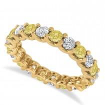 Yellow & White Diamond Eternity Wedding Band 14k Yellow Gold (2.10ct)