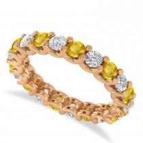 Diamond & Yellow Sapphire Eternity Wedding Band 14k Rose Gold (2.10ct)