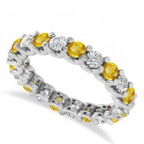 Diamond & Yellow Sapphire Eternity Wedding Band 14k White Gold (2.10ct)