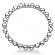 Women's Plain Metal Solid Beaded Stackable Ring 14k White Gold