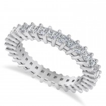 Princess Cut Diamond Eternity Wedding Band 14k White Gold (1.86ct)