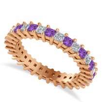 Princess Cut Diamond & Amethyst Eternity Wedding Band 14k Rose Gold (1.86ct)