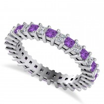 Princess Diamond & Amethyst Wedding Band 14k White Gold (1.86ct)