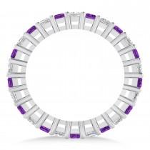 Princess Diamond & Amethyst Wedding Band 14k White Gold (1.86ct)