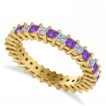 Princess Cut Diamond & Amethyst Eternity Wedding Band 14k Yellow Gold (1.86ct)