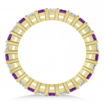Princess Diamond & Amethyst Wedding Band 14k Yellow Gold (1.86ct)