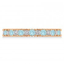 Princess Diamond & Aquamarine Wedding Band 14k Rose Gold (1.86ct)