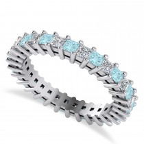 Princess Cut Diamond & Aquamarine Eternity Wedding Band 14k White Gold (1.86ct)