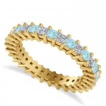 Princess Cut Diamond & Aquamarine Eternity Wedding Band 14k Yellow Gold (1.86ct)