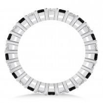 Princess Cut Black & White Diamond Eternity Wedding Band 14k White Gold (1.86ct)