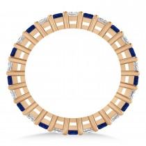 Princess Diamond & Blue Sapphire Wedding Band 14k Rose Gold (1.86ct)