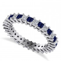 Princess Diamond & Blue Sapphire Wedding Band 14k White Gold (1.86ct)