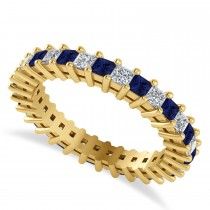 Princess Cut Diamond & Blue Sapphire Eternity Wedding Band 14k Yellow Gold (1.86ct)