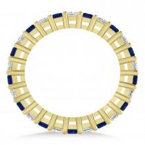 Princess Diamond & Blue Sapphire Wedding Band 14k Yellow Gold (1.86ct)