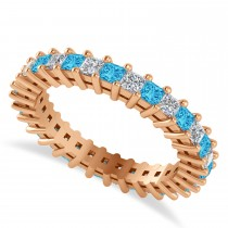 Princess Diamond & Blue Topaz Wedding Band 14k Rose Gold (1.86ct)