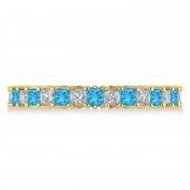 Princess Diamond & Blue Topaz Wedding Band 14k Yellow Gold (1.86ct)