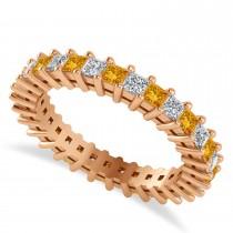 Princess Cut Diamond & Citrine Eternity Wedding Band 14k Rose Gold (1.86ct)