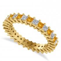 Princess Cut Diamond & Citrine Eternity Wedding Band 14k Yellow Gold (1.86ct)
