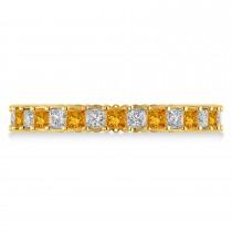 Princess Diamond & Citrine Wedding Band 14k Yellow Gold (1.86ct)