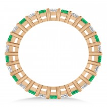 Princess Diamond & Emerald Wedding Band 14k Rose Gold (1.86ct)