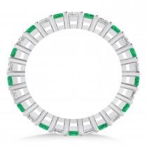 Princess Cut Diamond & Emerald Eternity Wedding Band 14k White Gold (1.86ct)