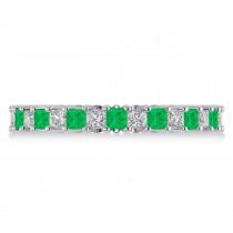 Princess Diamond & Emerald Wedding Band 14k White Gold (1.86ct)