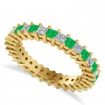 Princess Diamond & Emerald Wedding Band 14k Yellow Gold (1.86ct)