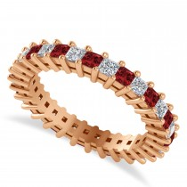 Princess Cut Diamond & Garnet Eternity Wedding Band 14k Rose Gold (1.86ct)