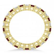 Princess Diamond & Garnet Wedding Band 14k Yellow Gold (1.86ct)