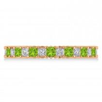 Princess Diamond & Peridot Wedding Band 14k Rose Gold (1.86ct)