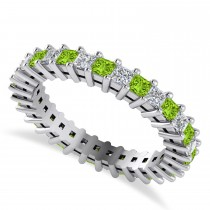 Princess Diamond & Peridot Wedding Band 14k White Gold (1.86ct)
