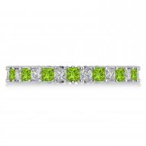 Princess Diamond & Peridot Wedding Band 14k White Gold (1.86ct)