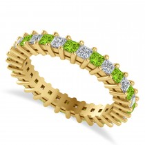 Princess Cut Diamond & Peridot Eternity Wedding Band 14k Yellow Gold (1.86ct)
