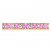 Princess Diamond & Pink Sapphire Wedding Band 14k Rose Gold (1.86ct)