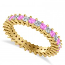 Princess Diamond & Pink Sapphire Wedding Band 14k Yellow Gold (1.86ct)