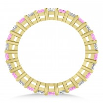 Princess Diamond & Pink Sapphire Wedding Band 14k Yellow Gold (1.86ct)