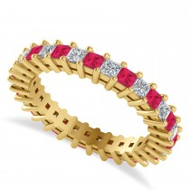 Princess Cut Diamond & Ruby Eternity Wedding Band 14k Yellow Gold (1.86ct)