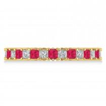 Princess Diamond & Ruby Wedding Band 14k Yellow Gold (1.86ct)