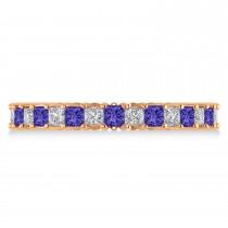 Princess Diamond & Tanzanite Wedding Band 14k Rose Gold (1.86ct)