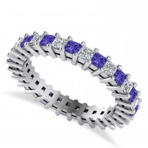 Princess Cut Diamond & Tanzanite Eternity Wedding Band 14k White Gold (1.86ct)