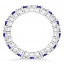 Princess Diamond & Tanzanite Wedding Band 14k White Gold (1.86ct)