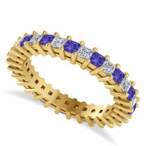 Princess Cut Diamond & Tanzanite Eternity Wedding Band 14k Yellow Gold (1.86ct)