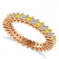 Princess Cut Yellow & White Diamond Eternity Wedding Band 14k Rose Gold (1.86ct)