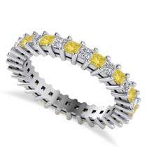 Princess Yellow & White Diamond Wedding Band 14k White Gold (1.86ct)