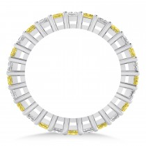 Princess Yellow & White Diamond Wedding Band 14k White Gold (1.86ct) escape