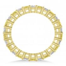 Princess Yellow & White Diamond Wedding Band 14k Yellow Gold (1.86ct)