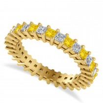 Princess Diamond & Yellow Sapphire Wedding Band 14k Yellow Gold (1.86ct)
