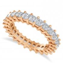 Princess Cut Diamond Eternity Wedding Band 14k Rose Gold (2.60ct)
